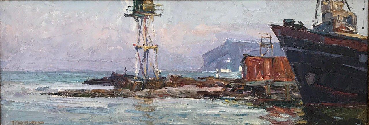 Столяренко П.К. Вход в рыбный порт. 1964 к.м., 25х70