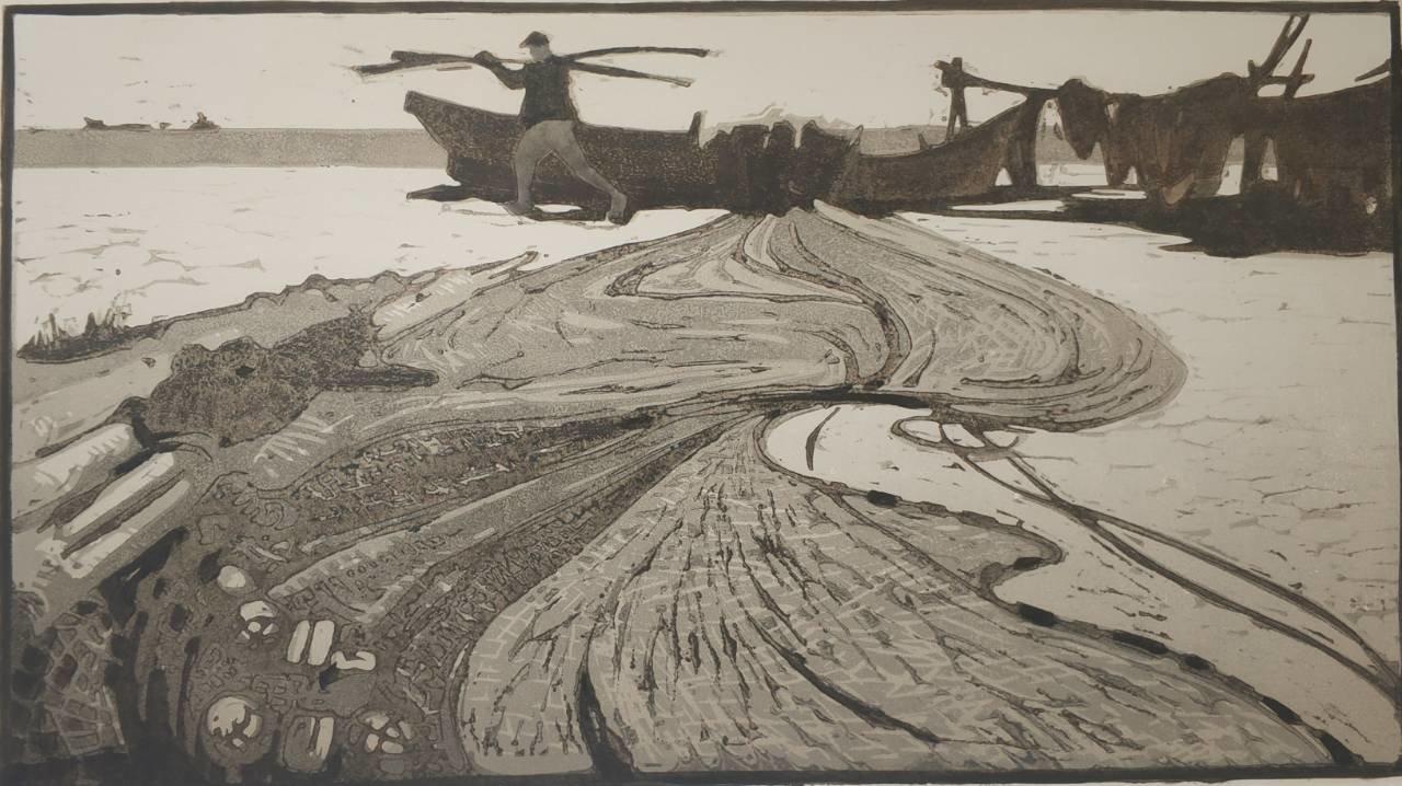 Карцыганов Е.А. Сети. из серии У рыбаков Азова. 1963 бум., цв. автолитография, 30х55