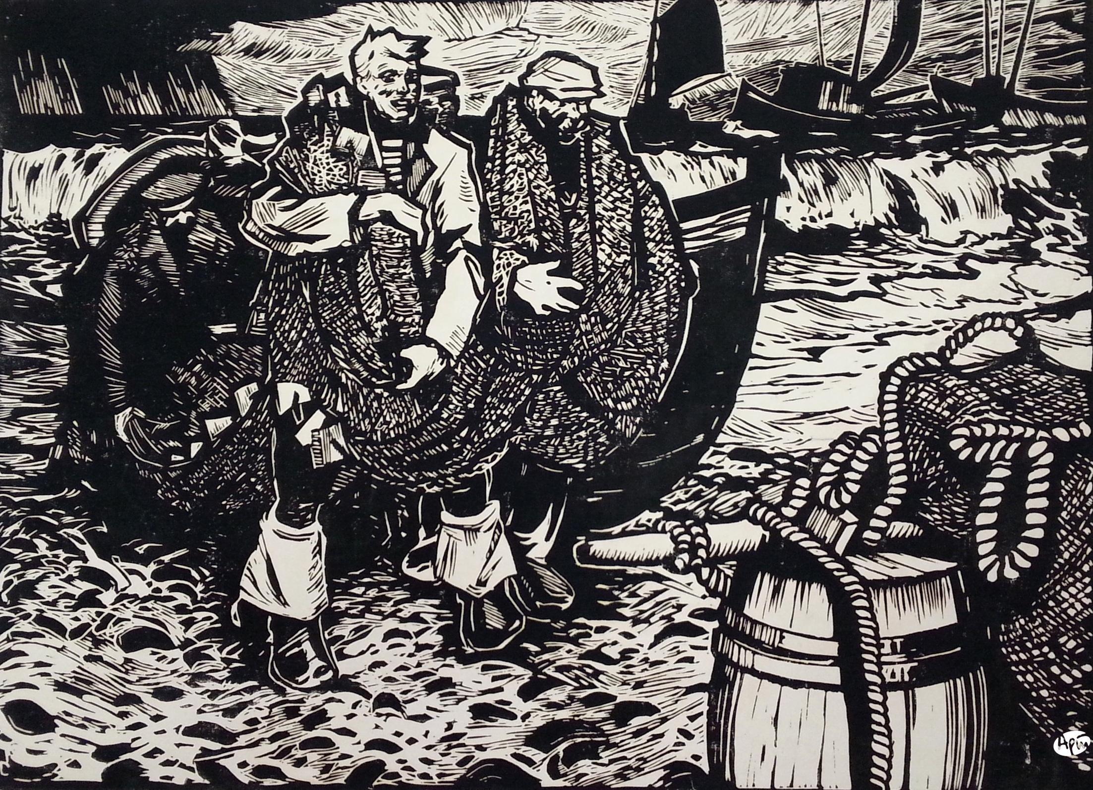 Столяренко П.К. Капканские рыбаки. 1960. Б.,линогравюра. 62х86