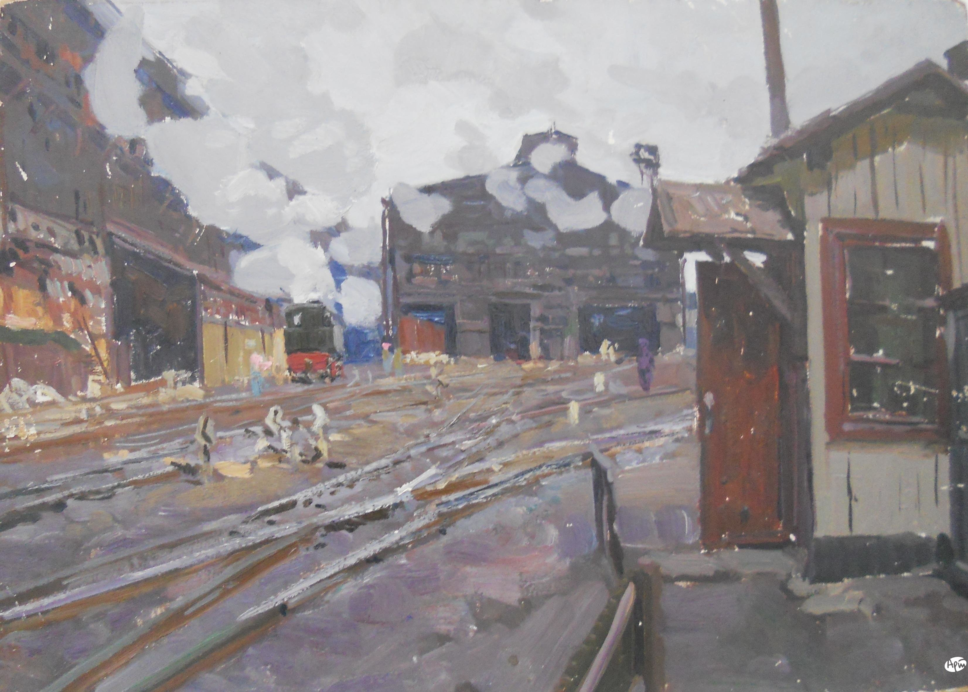 Акиньшин М. В. На товарной станции.1968 г. Картон/масло 49,5x69,5 см
