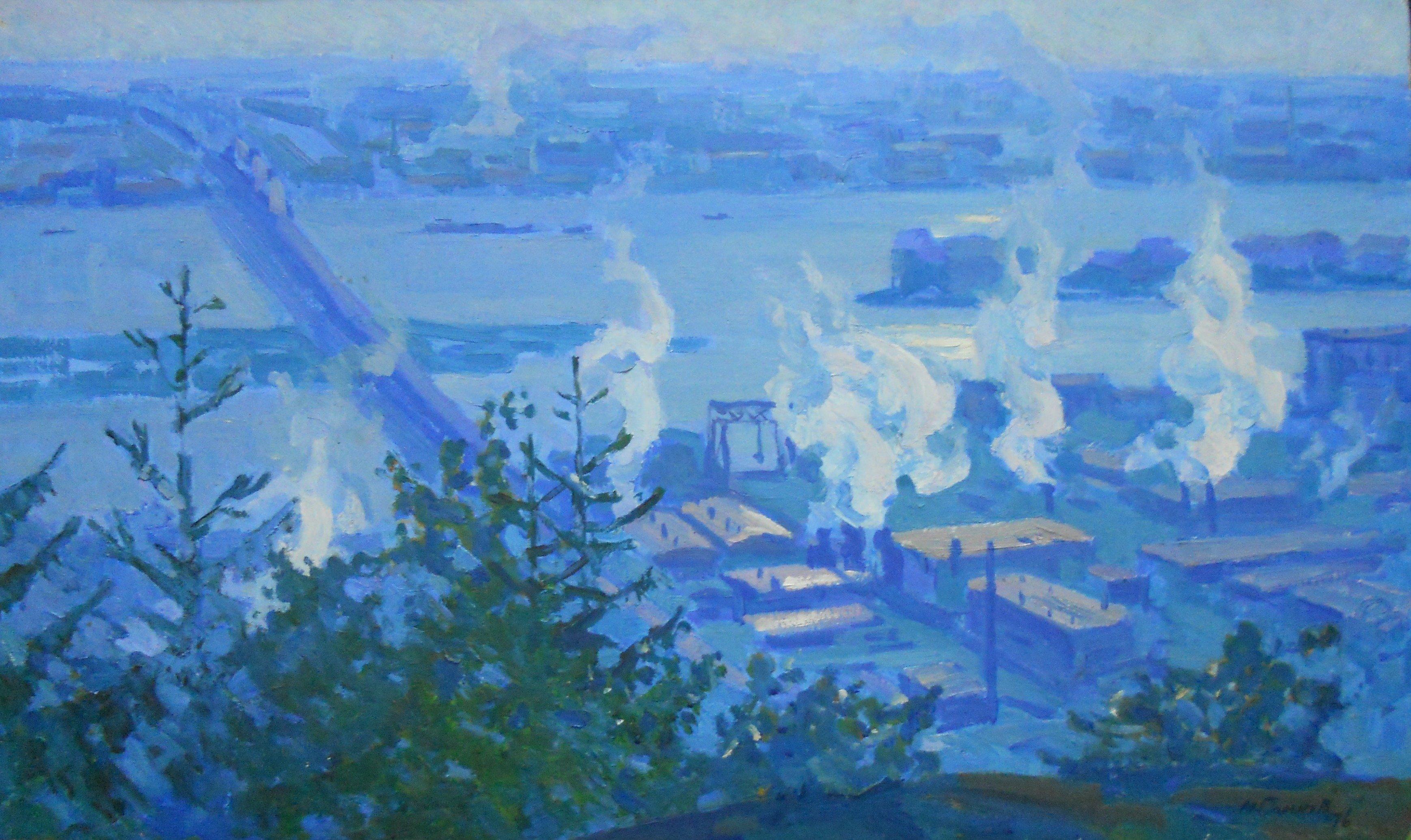 Самков М.А. Утро рабочего Киева. 1976. к.м. 60х100